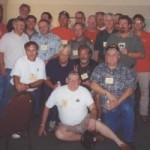 Some of the Bravo Company Alumni. Front, Frank Vinning. 2nd row, ??, ??, Guy Wolfenbarger, Larry Parshall. 3rd row, Jack Butcher, ??, ??, Mark Anderson. 4th row, Pat Baddgor, Alphie, Wally Young, ??, ??, Lloyd Reynolds. Rear, ??, ??, Bill Bisbee, ??, Mike Burnett, ??.