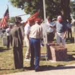 Dedicating the 5th Marine Division Memorial Plaque