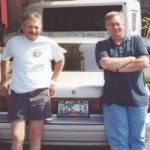 """Jack Butcher & Harry """"Super Jew"""" Christensen. Some may have come farther to the reunion.  But none drove farther than Jack who drove from Barriere, BC, Canada."""