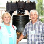 Day-3-Garry & Donna-Hall-in-front-of-the-Liberty-Bell-Independence-Hall-behind