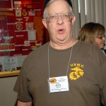 Jim Raasch looks surprised that he won during our auction at the Leatherneck Club