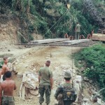 Marine Engineers repairing a bridge on Vietnamese National Highway 9 on the road to Khe Sahn