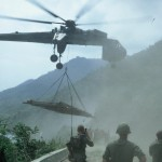 Marine-chopper-bringing-in-repair-materials-for-the-bridge-repair