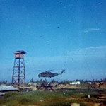 Operation in Dien Ban area, Vietnamese CP, CH 53 landing by watch tower